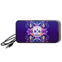 Día De Los Muertos Skull Ornaments Multicolored Portable Speaker (black)  by EDDArt
