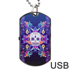Día De Los Muertos Skull Ornaments Multicolored Dog Tag Usb Flash (one Side) by EDDArt
