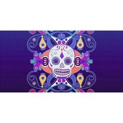 Día De Los Muertos Skull Ornaments Multicolored You Are Invited 3d Greeting Card (8x4) by EDDArt