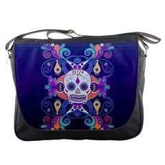 Día De Los Muertos Skull Ornaments Multicolored Messenger Bags by EDDArt