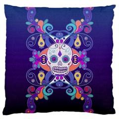Día De Los Muertos Skull Ornaments Multicolored Large Cushion Case (two Sides) by EDDArt