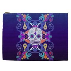 Día De Los Muertos Skull Ornaments Multicolored Cosmetic Bag (xxl)  by EDDArt