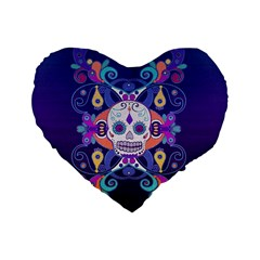 Día De Los Muertos Skull Ornaments Multicolored Standard 16  Premium Heart Shape Cushions by EDDArt
