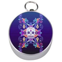 Día De Los Muertos Skull Ornaments Multicolored Silver Compasses by EDDArt