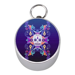 Día De Los Muertos Skull Ornaments Multicolored Mini Silver Compasses by EDDArt