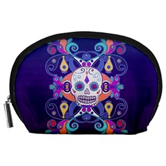 Día De Los Muertos Skull Ornaments Multicolored Accessory Pouches (large)  by EDDArt