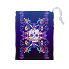 Día De Los Muertos Skull Ornaments Multicolored Drawstring Pouches (large)  by EDDArt