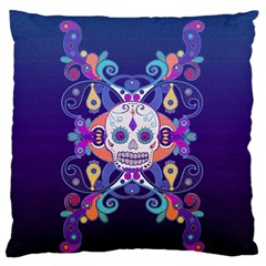 Día De Los Muertos Skull Ornaments Multicolored Large Flano Cushion Case (two Sides) by EDDArt