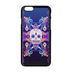 Día De Los Muertos Skull Ornaments Multicolored Apple Iphone 6/6s Black Enamel Case by EDDArt