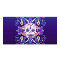 Día De Los Muertos Skull Ornaments Multicolored Satin Shawl by EDDArt