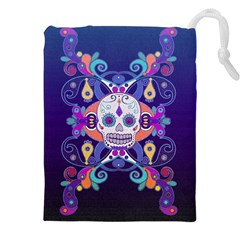 Día De Los Muertos Skull Ornaments Multicolored Drawstring Pouches (xxl) by EDDArt