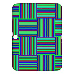 Fabric Pattern Design Cloth Stripe Samsung Galaxy Tab 3 (10 1 ) P5200 Hardshell Case  by AnjaniArt