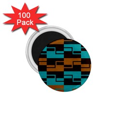 Fabric Textile Texture Gold Aqua 1 75  Magnets (100 Pack)  by AnjaniArt