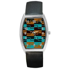 Fabric Textile Texture Gold Aqua Barrel Style Metal Watch by AnjaniArt