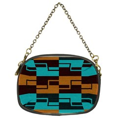Fabric Textile Texture Gold Aqua Chain Purses (one Side)  by AnjaniArt
