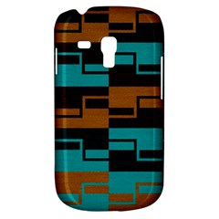 Fabric Textile Texture Gold Aqua Samsung Galaxy S3 Mini I8190 Hardshell Case by AnjaniArt