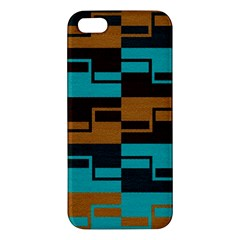 Fabric Textile Texture Gold Aqua Iphone 5s/ Se Premium Hardshell Case by AnjaniArt