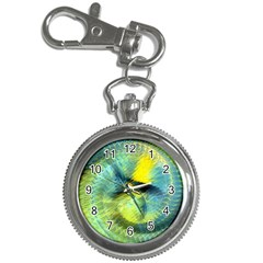 Light Blue Yellow Abstract Fractal Key Chain Watches by designworld65
