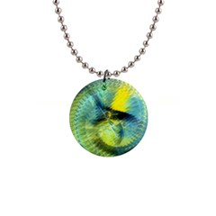Light Blue Yellow Abstract Fractal Button Necklaces by designworld65
