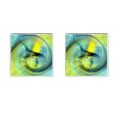 Light Blue Yellow Abstract Fractal Cufflinks (square) by designworld65
