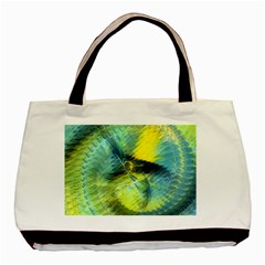 Light Blue Yellow Abstract Fractal Basic Tote Bag by designworld65