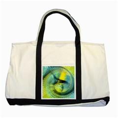 Light Blue Yellow Abstract Fractal Two Tone Tote Bag by designworld65