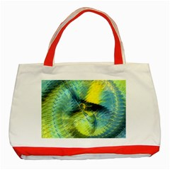 Light Blue Yellow Abstract Fractal Classic Tote Bag (red) by designworld65