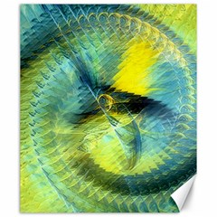 Light Blue Yellow Abstract Fractal Canvas 20  X 24   by designworld65