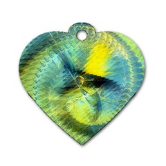 Light Blue Yellow Abstract Fractal Dog Tag Heart (one Side) by designworld65