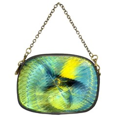 Light Blue Yellow Abstract Fractal Chain Purses (two Sides)  by designworld65
