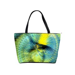 Light Blue Yellow Abstract Fractal Shoulder Handbags by designworld65