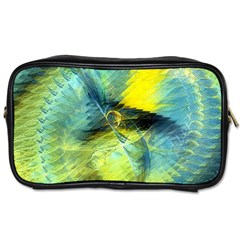 Light Blue Yellow Abstract Fractal Toiletries Bags 2 Side by designworld65