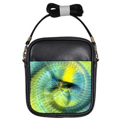 Light Blue Yellow Abstract Fractal Girls Sling Bags by designworld65