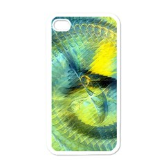 Light Blue Yellow Abstract Fractal Apple Iphone 4 Case (white) by designworld65