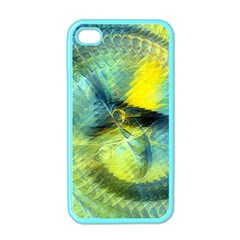 Light Blue Yellow Abstract Fractal Apple Iphone 4 Case (color) by designworld65