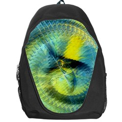 Light Blue Yellow Abstract Fractal Backpack Bag by designworld65