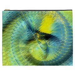 Light Blue Yellow Abstract Fractal Cosmetic Bag (xxxl)  by designworld65