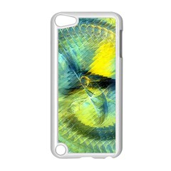 Light Blue Yellow Abstract Fractal Apple Ipod Touch 5 Case (white) by designworld65