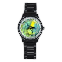 Light Blue Yellow Abstract Fractal Stainless Steel Round Watch by designworld65