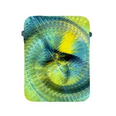 Light Blue Yellow Abstract Fractal Apple Ipad 2/3/4 Protective Soft Cases by designworld65