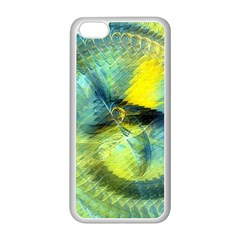 Light Blue Yellow Abstract Fractal Apple Iphone 5c Seamless Case (white) by designworld65
