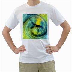 Light Blue Yellow Abstract Fractal Men s T Shirt (white)  by designworld65