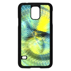 Light Blue Yellow Abstract Fractal Samsung Galaxy S5 Case (black) by designworld65