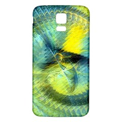 Light Blue Yellow Abstract Fractal Samsung Galaxy S5 Back Case (white) by designworld65
