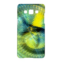 Light Blue Yellow Abstract Fractal Samsung Galaxy A5 Hardshell Case  by designworld65