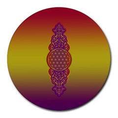 Flower Of Life Vintage Gold Ornaments Red Purple Olive Round Mousepads by EDDArt