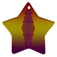 Flower Of Life Vintage Gold Ornaments Red Purple Olive Ornament (star)  by EDDArt