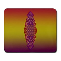 Flower Of Life Vintage Gold Ornaments Red Purple Olive Large Mousepads by EDDArt