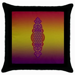 Flower Of Life Vintage Gold Ornaments Red Purple Olive Throw Pillow Case (black) by EDDArt