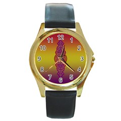 Flower Of Life Vintage Gold Ornaments Red Purple Olive Round Gold Metal Watch by EDDArt